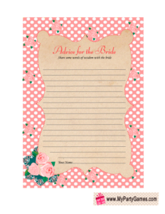 Advice for the Bride Free Printable Card in Pink Color