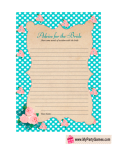 Advice for the Bride Free Printable Card in Aqua Color