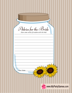 Advice for the Bride Free Printable Card featuring Mason Jar