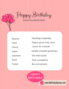 Happy Birthday Around the World Game in Pink Color
