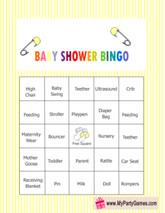 Free Printable Baby Shower Words Bingo Game in Yellow Color