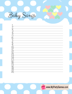 Free Printable Baby Songs Game Card with Polka Dots in Blue Color
