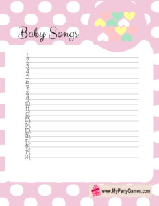 Free Printable Baby Songs Game Card with Polka Dots