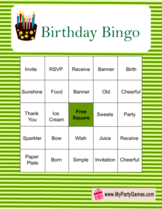 Free Printable Birthday Bingo Game in green color