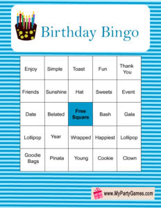 Free Printable Birthday Bingo Game in Blue Color