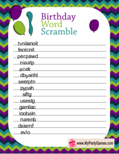 Birthday Word Scramble Game Printable in Peacock Colors