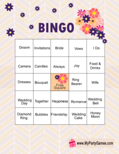 Bridal Shower Words Bingo Game Cards with Purple Flowers