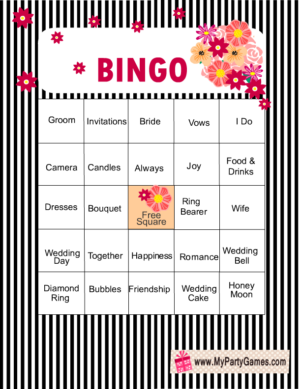 This is a photo of Punchy Bridal Shower Bingo Free Printable