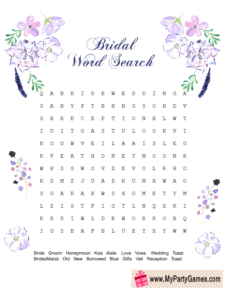 Free Printable Wedding Word Search Game floral design