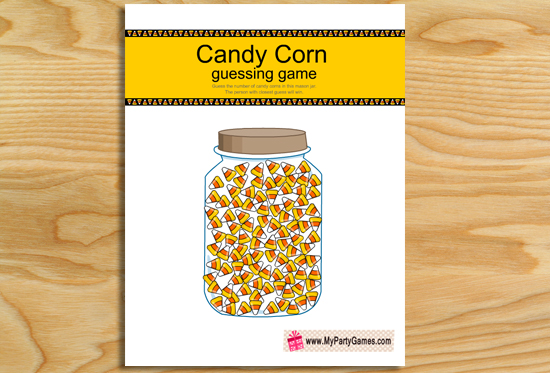 Free Printable How Many Candy Corns are in the Jar Game