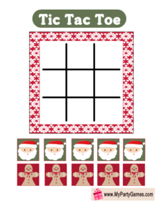 Tic Tac Toe Game for Christmas featuring Santa and Gingerbread-man