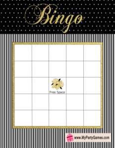 Bridal Shower Gift Bingo Card in Black, White and Gold Colors