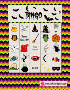 Free Printable Halloween Picture Bingo Game Card 4