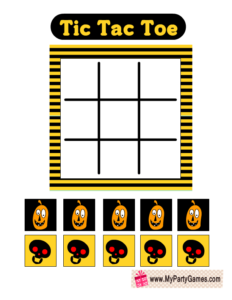 Free Printable Tic Tac Toe Game Card in Yellow and Black