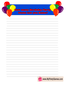 Birthday Party Items Name Game Card in Blue Color