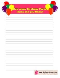 Free Printable Birthday Party Items Name Game in Pink Color