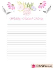 Free Printable How Many Wedding related Movies Can you Name? Game Card