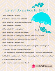 Free Printable How Well Do you Know the Bride Game in Turquoise
