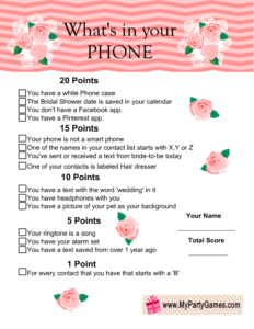 What's in your Phone Game Floral Printable