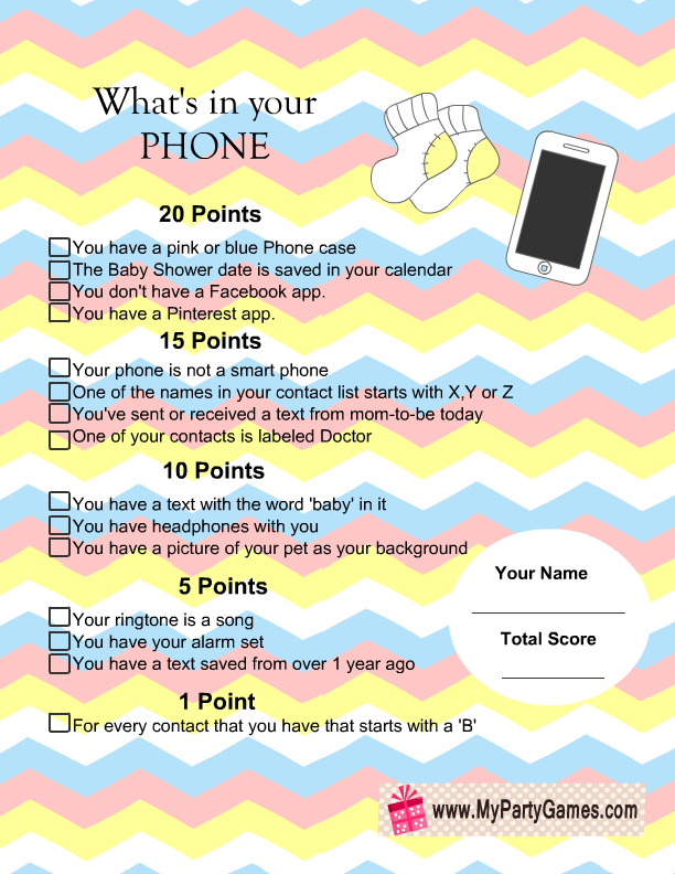 what s in your phone baby shower game with chevron pattern