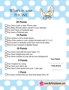 Free Printable What's in your Phone Baby Shower Game Blue