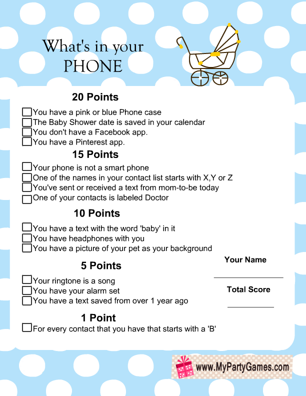free printable what 39 s in your phone baby shower game blue