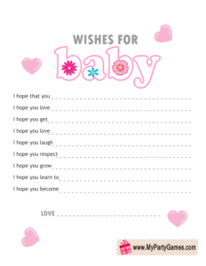 Wishes for Baby Card for Girl Baby Shower