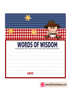 Free Printable Cowboy themed Words of Wisdom Cards