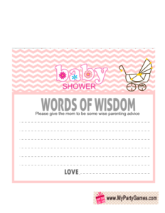 Free Printable Words of Wisdom Card in Pink Color