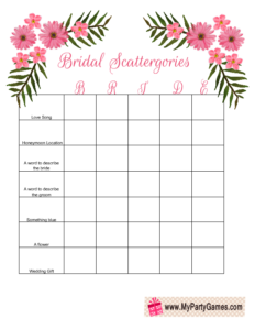 Free Printable Bridal Shower Scattergories Game using the word Bride