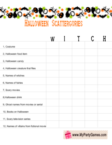 free printable halloween scattergories worksheet using the word witch