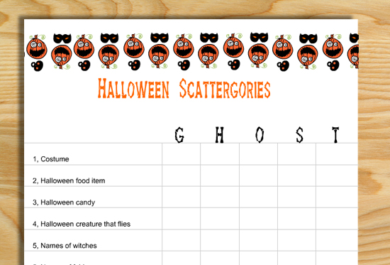Free Printable Scattergories inspired Halloween Game