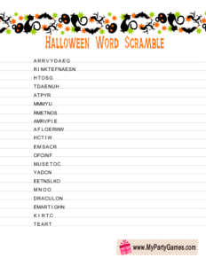 Halloween Word Scramble Game with Cats and Bats graphics