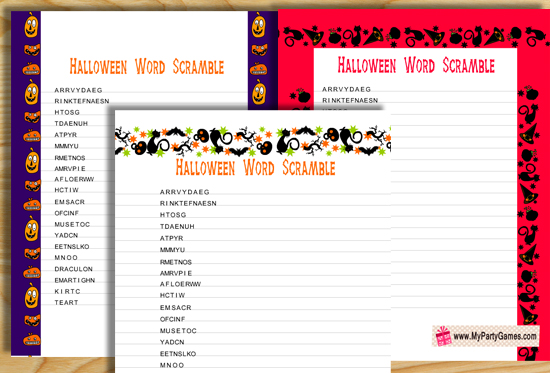 Free Printable Halloween Word Scramble Game