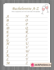 Bachelorette Party Naughty A-Z Game