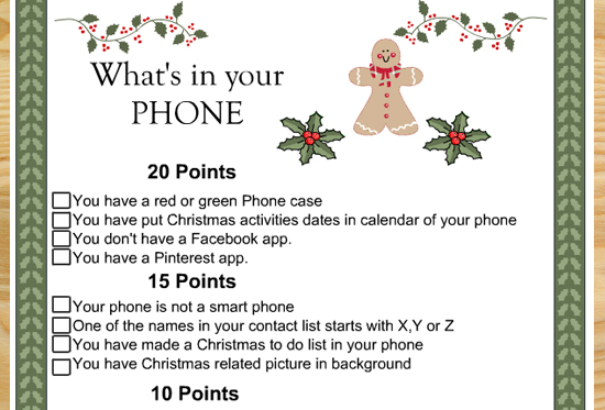 What's in you Phone-Free Printable Christmas Game