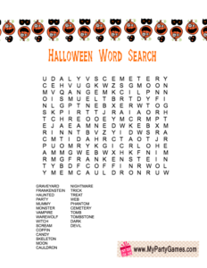 Free Printable Halloween Word Search Game Worksheet