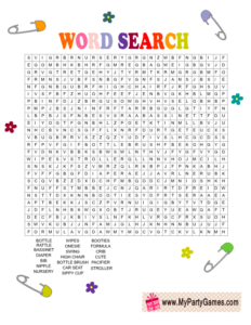 Free Printable Baby Shower Word Search Game Card
