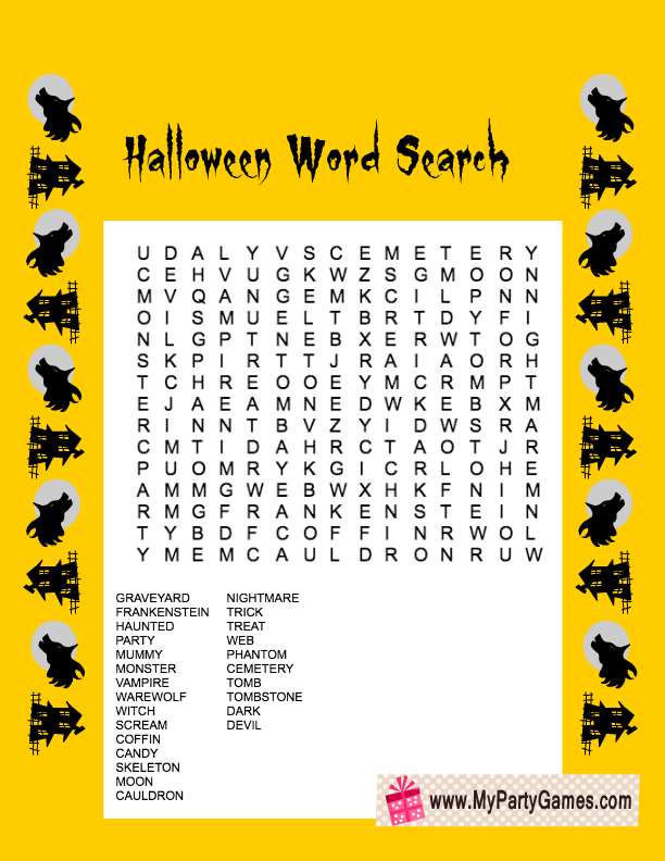 free printable halloween word search game in yellow color - Printable Halloween Word Searches