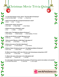 Free Printable Christmas Movie Trivia Quiz Worksheet