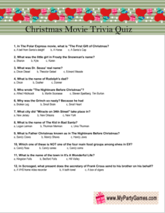 Free Printable Christmas Movie Trivia Quiz Game