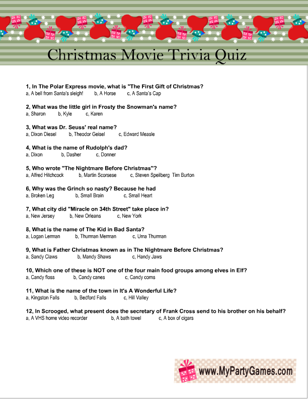 Sassy image intended for printable christmas movie trivia questions and answers