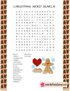 Free Printable Christmas Word Search Game featuring Gingerbread-man