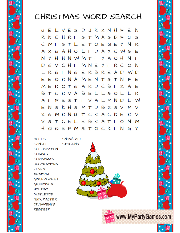 Free printable christmas word search game in three designs