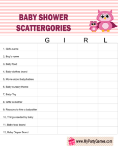 Free Printable Baby Shower Scattergories Game using the word 'Girl'