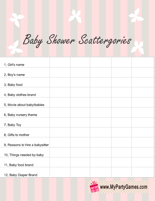 printable baby shower scattergories game for boy and girl baby showers