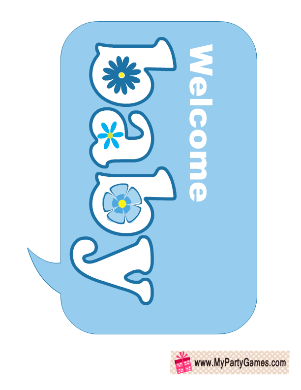 welcome baby baby shower photo booth prop in blue color