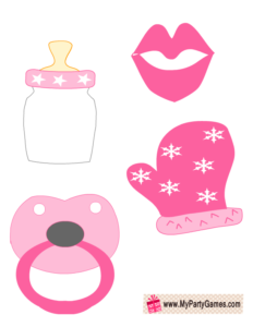 Lips, Milk Bottle, Pacifier and Mitten in Pink Color