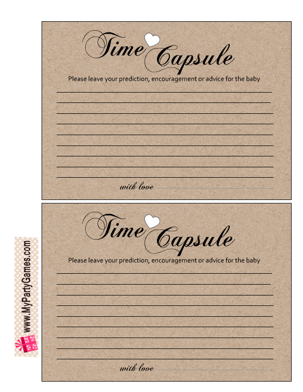 Baby Time Capsule On Pinterest: Free Printable Cards For Baby Time Capsule