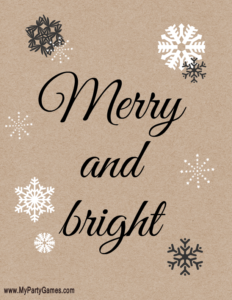 Merry and Bright free rustic style Christmas Printable